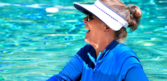 smiling lady in pool