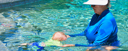 toddler going under water